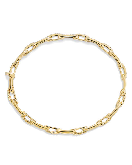David Yurman Stax Chain Link Bracelet in 18k Yellow Gold w/ Diamonds, Size L