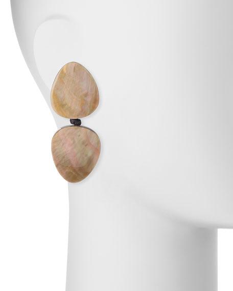 Freeform Double-Drop Earrings, Pierced