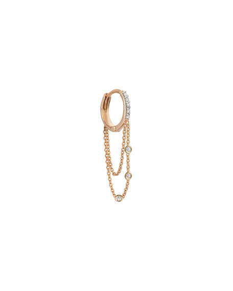 Kismet by Milka Colors 14K Rose Gold Triple-Chain Hoop Earring with Champagne Diamonds