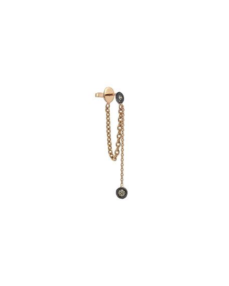 Kismet by Milka Colors 14K Rose Gold Chain Earring with Champagne Diamonds, Each
