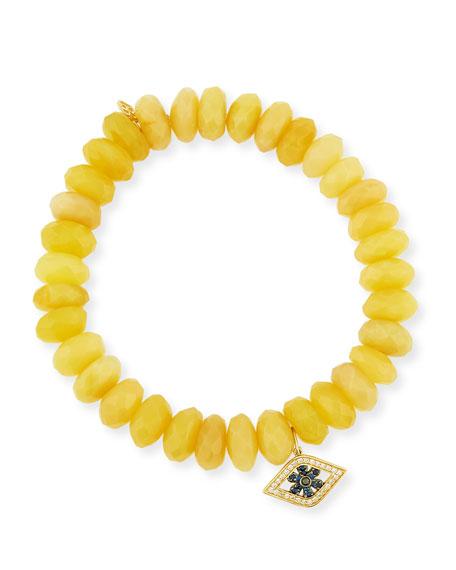 10mm Yellow Opal Beaded Bracelet with Diamond & Sapphire Flower Eye Charm