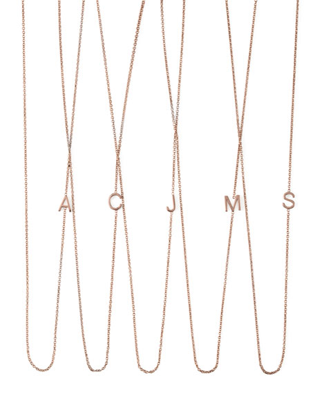 MAYA BRENNER DESIGNS 14K Rose Gold Mini Letter Necklace