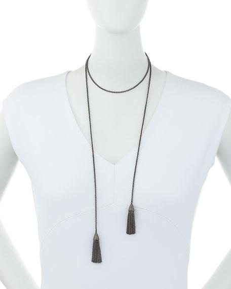 Siena Lasker Double-Tassel Chain Lariat Necklace with Diamonds
