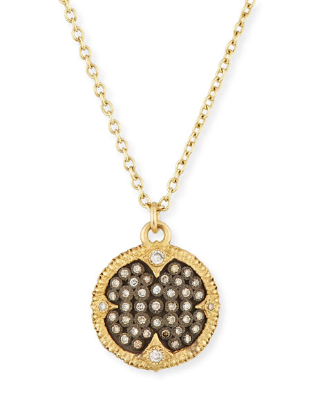 Armenta Old World Pavé Diamond Disc Pendant Necklace