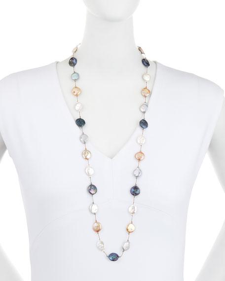 "Margo Morrison Multicolor Coin Pearl Necklace, 35""L"
