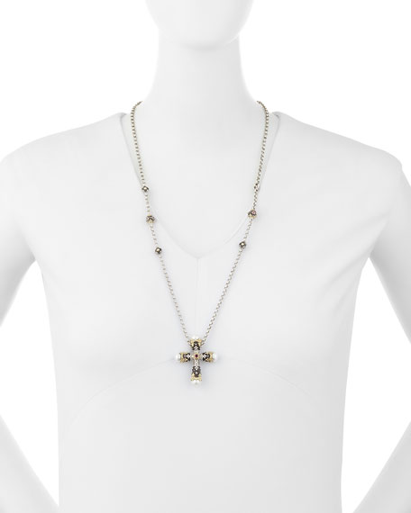 Pink Tourmaline Cross Pendant Necklace
