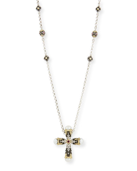 Konstantino Pink Tourmaline Cross Pendant Necklace