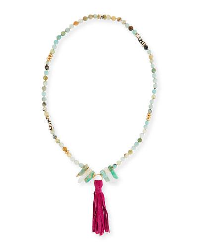 Cuban Beaded Tassel Necklace, 36