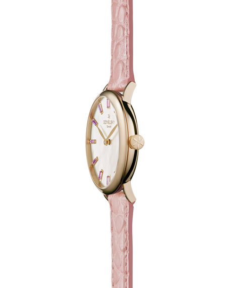 Agnes Varis 32mm Alligator Strap Watch with Amethysts