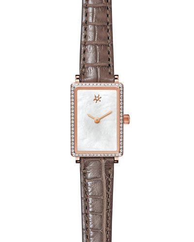 Shirley Fromer 26mm Alligator Strap Watch with Diamond Bezel