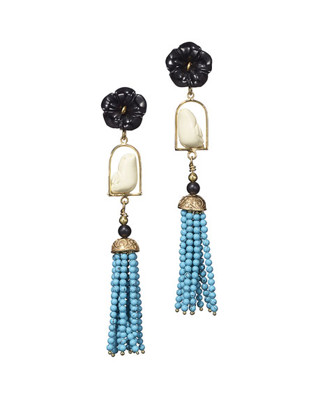 Swinger Beaded Tassel Drop Earrings, Black/Turquoise