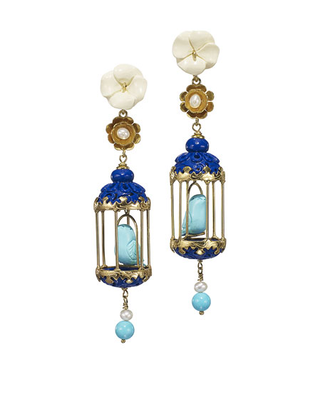 Aviary Carved Bone Drop Earrings, Blue/Turquoise