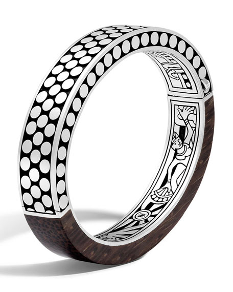 Dot Small Oval Hinged Ebony Bracelet