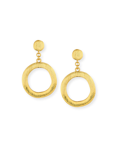 Brushed Golden Hoop Drop Earrings