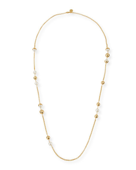 Capped Crystal Pearly Chain Necklace