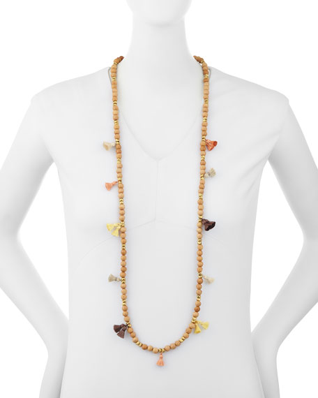 Isa Beaded Tassel Necklace, 42""