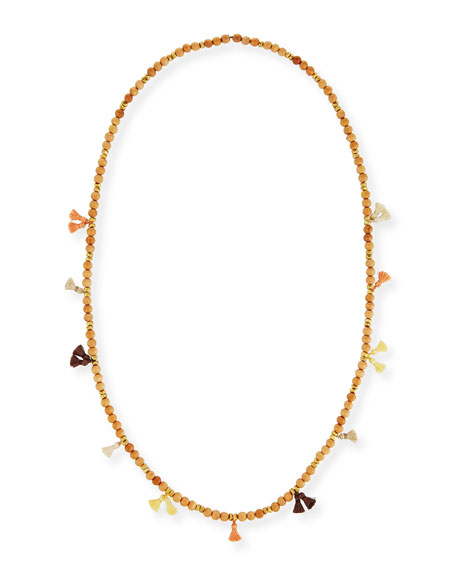 "Isa Beaded Tassel Necklace, 42"""