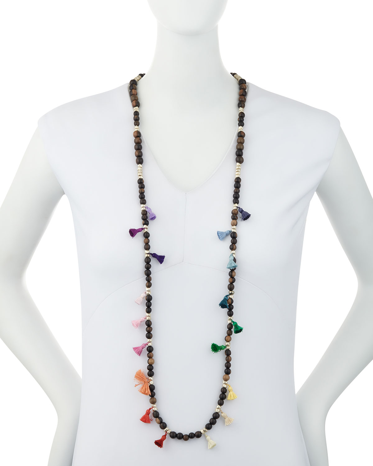 Hipchik Salma Beaded Tassel Necklace, 42