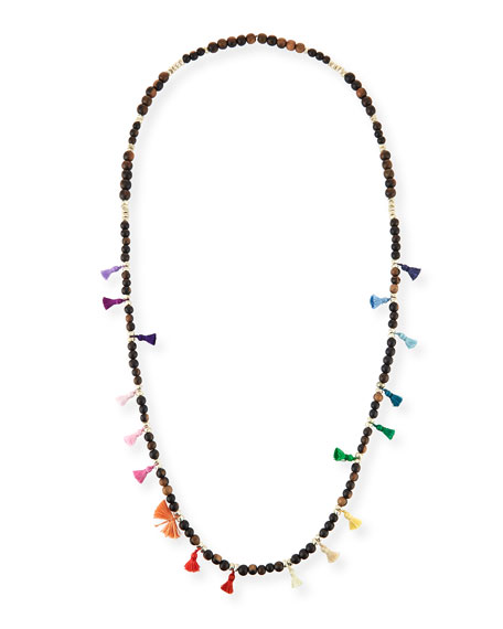Salma Beaded Tassel Necklace, 42""
