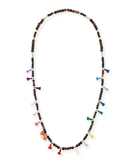 "Salma Beaded Tassel Necklace, 42"""
