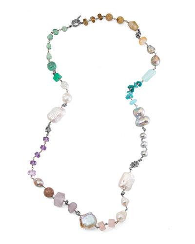 Long Mixed-Bead Single-Strand Necklace