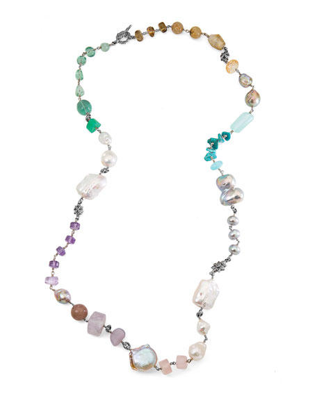 Stephen Dweck Long Champagne Pearl Single-Strand Necklace tjNfTe