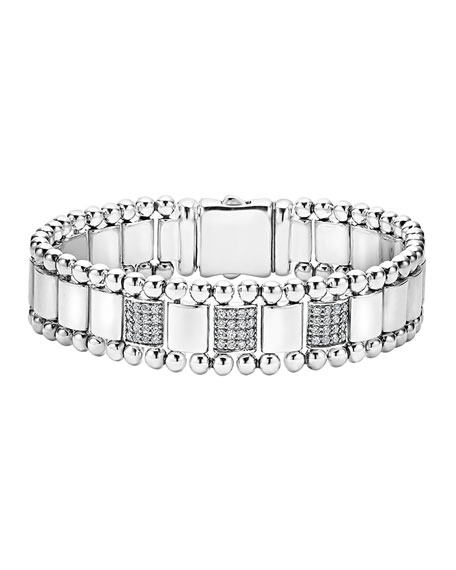 LAGOS 15mm Caviar Spark Bracelet with Three Diamond Stations