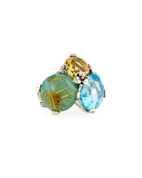 Stephen Dweck Rutilated Quartz, Turquoise, Topaz & Citrine