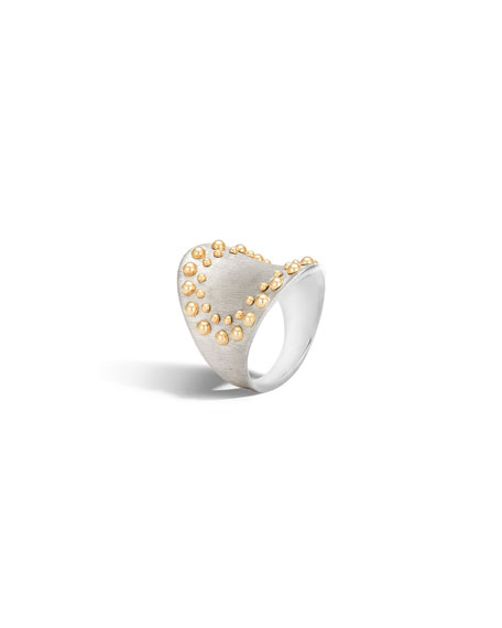 John Hardy Dot Silver & 18k Gold Saddle Ring, Size 7