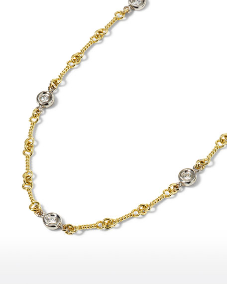 Roberto Coin Two-Tone 18k 7-Diamond Dog Bone Necklace