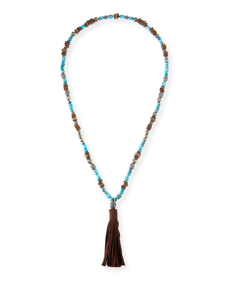 Hipchik Leighan Turquoise & Brown Suede Necklace