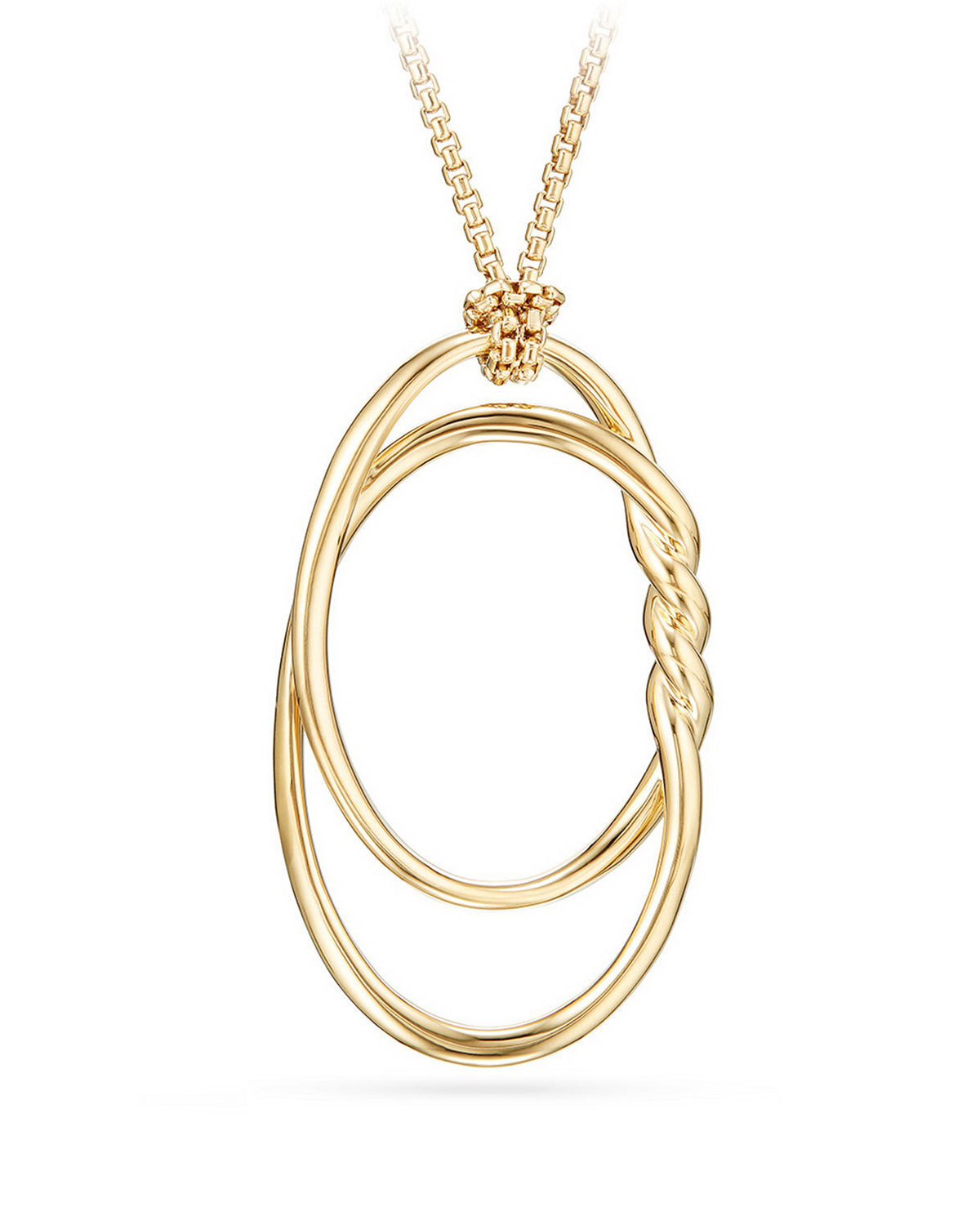 David Yurman 47mm Continuance 18K Gold Pendant Necklace