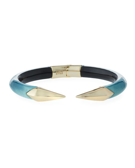 Alexis Bittar Mirror Break-Hinge Bracelet, Blue