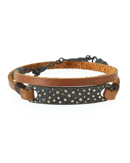Armenta Old World Midnight Leather Wrap Bracelet