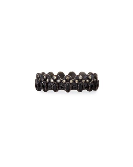 Armenta New World Blackened Scalloped Ring with Diamonds & Black Sapphires