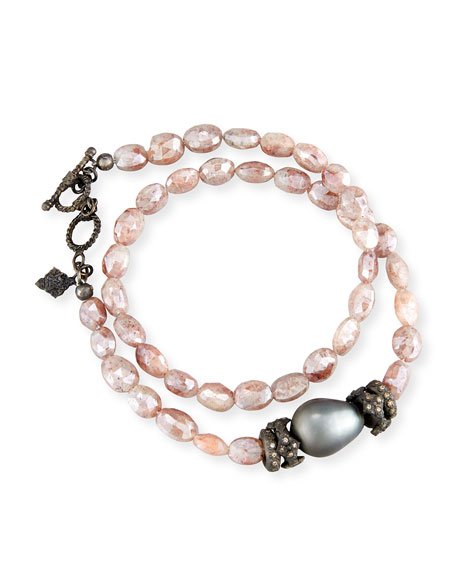 Armenta Peach Mystic Moonstone & Tahitian Pearl Bracelet