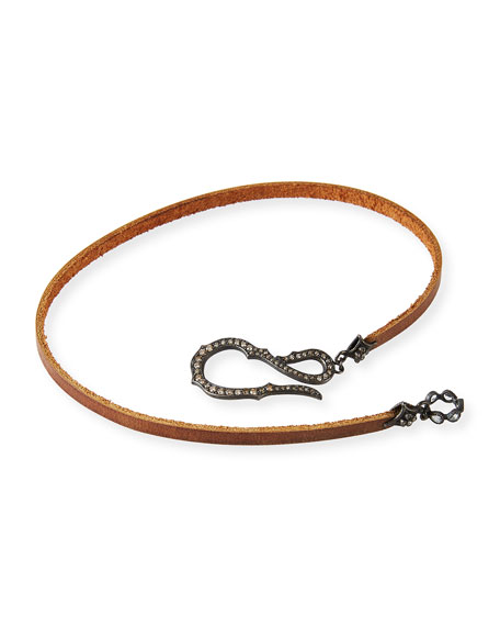 Pavé Diamond Hook Leather Wrap Bracelet