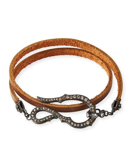 Armenta Pavé Diamond Hook Leather Wrap Bracelet