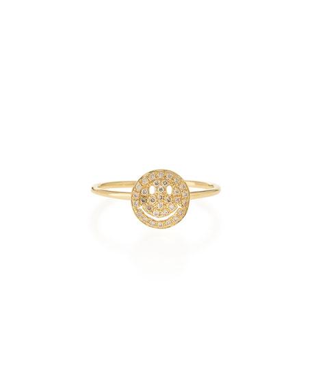 Sydney Evan 14k Gold Happy Face Diamond Ring, Size 6.5