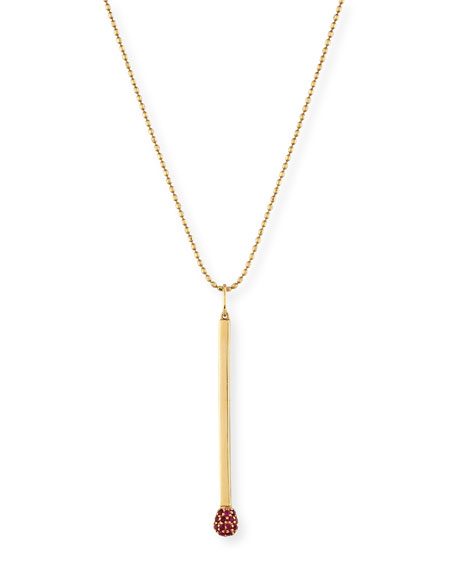 Ruby Matchstick Charm Necklace