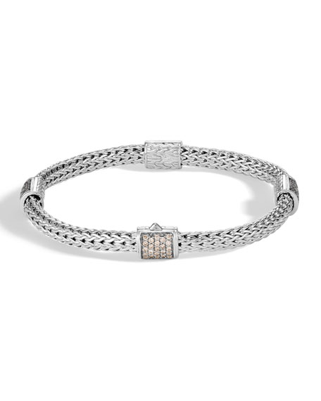 John Hardy Classic Chain Pave Diamond Four-Station Bracelet,