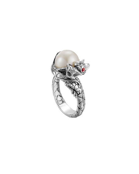 Naga Silver Lava Small Dragon Ring with Freshwater Pearl
