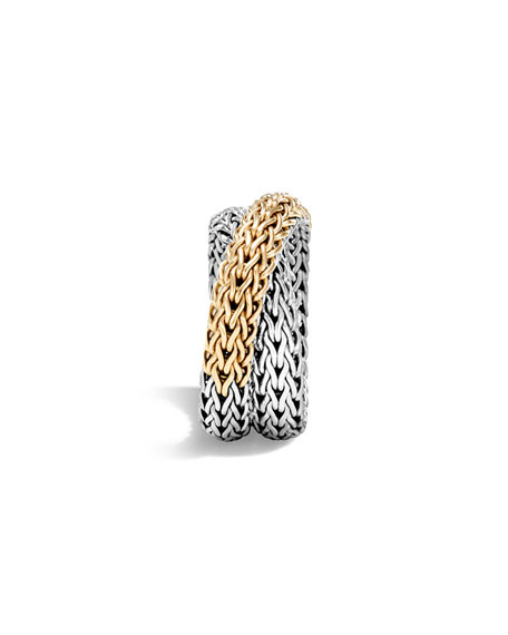 18K & Sterling Silver Crossover Chain Ring, Size 6