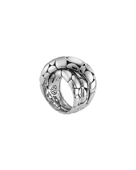 John Hardy Classic Chain Arch Diamond Pavé Silver Crossover Ring R65UlNj