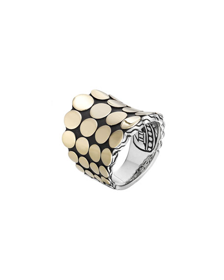 Dot Silver & 18k Gold Saddle Ring, Size 7
