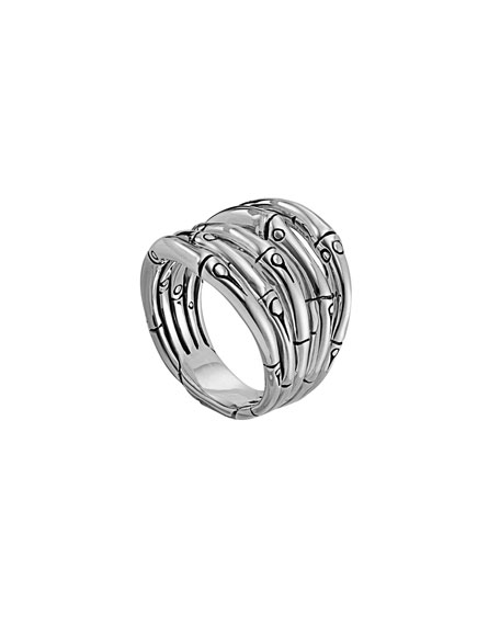 John Hardy Bamboo Silver 18mm Wide Ring, Size