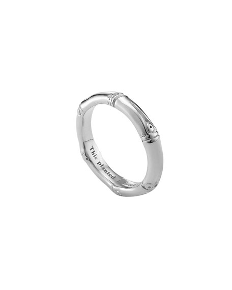Silver Bamboo Band Ring, Size 7