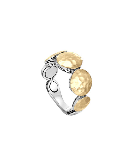 Palu Gold & Silver Round Disc Ring, Size 7