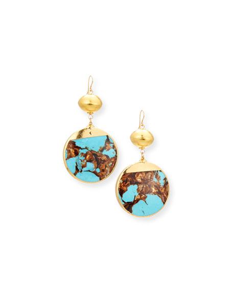 Devon Leigh Bronzite Turquoise Hoop Drop Earrings SJiLXvsYf