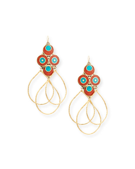 Devon Leigh Turquoise & Coral Triple Hoop Earrings